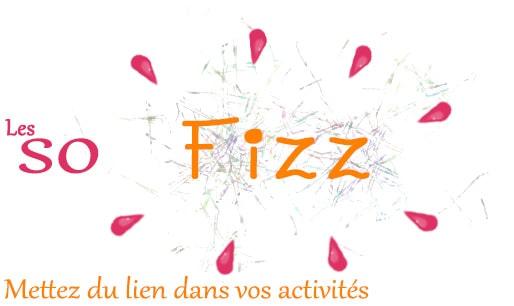 Logo de l'association Les So'Fizz, Mettez du lien dans vos activités - Logo en couleur orange et framboise